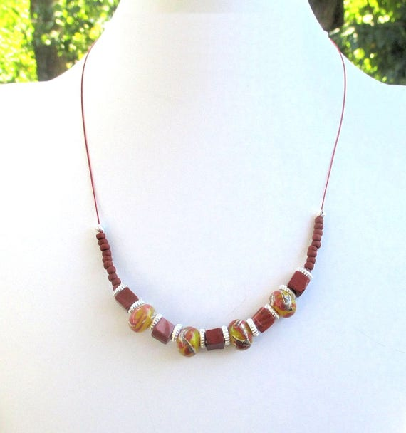 Mahogany Brown Stone and Lampwork Glass Necklace, Terra Cotta Bohemian Necklace, 19-1/2 inches / Matching Earrings Available