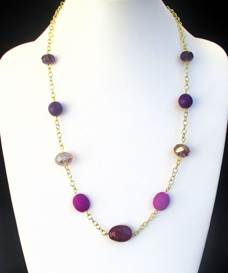 Long Purple Violet Beaded Necklace with Gold Chain for Women image 0