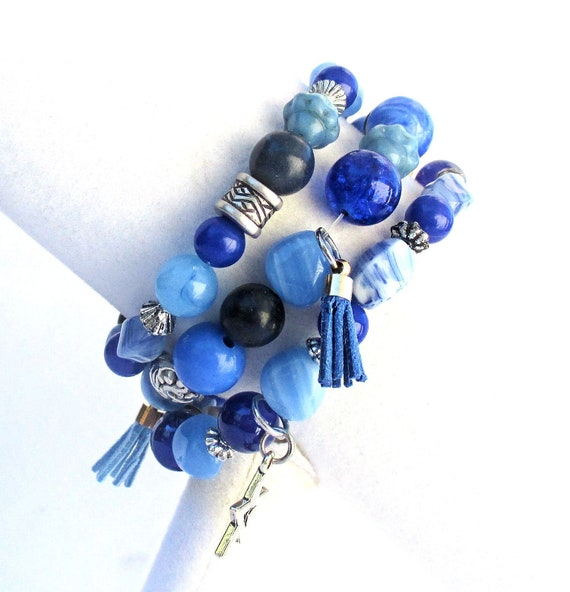 Blue Stretch Bracelets in a Set of Three with Tassels and Silver Charms, Best Fit for 6-7 inch Wrist