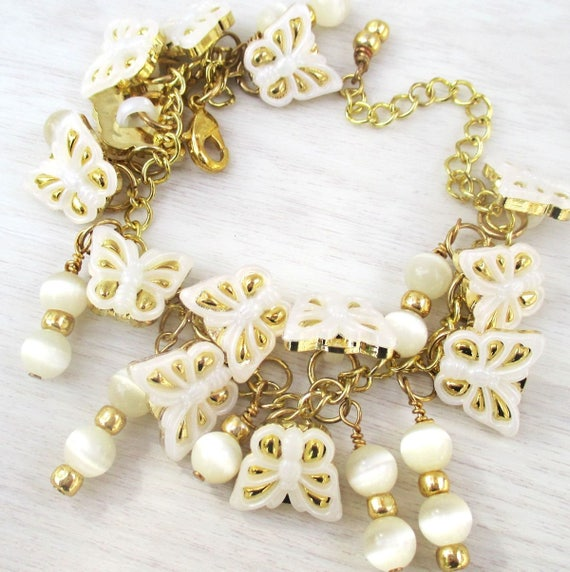 Charm Bracelet, Butterfly Jewelry, Girl Gift, Funky Jewelry, Button Bracelet, One of a Kind Kitsch Jewelry, Gift for Her, Custom Sized