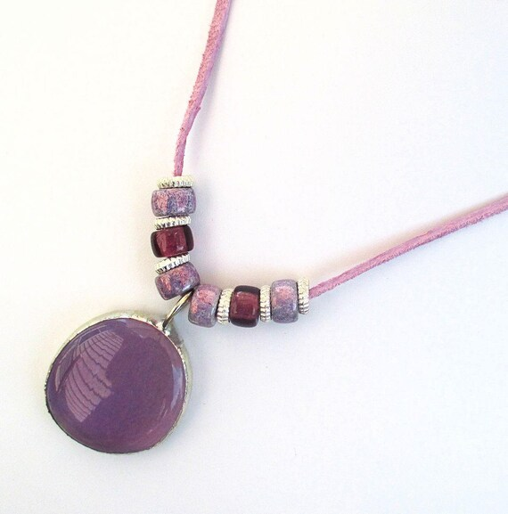 Purple Pendant Necklace, Suede Cord Necklace, Czech Glass Jewelry, Purple Necklace, One of a Kind Ultra Violet Gift for Her, Up to 24in