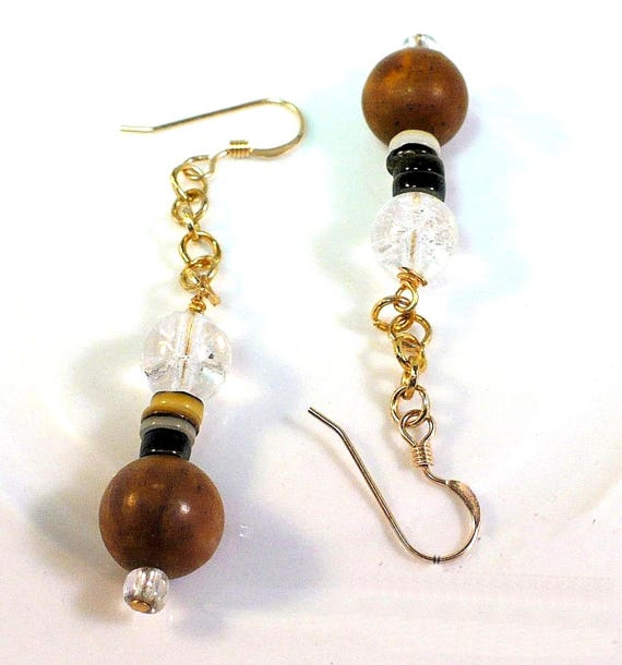 Gold Filled Brown Gemstone Earrings with Chain, Funky Bohemian Agate Jewelry, 2-1/2 inches long / Matching Necklace Available