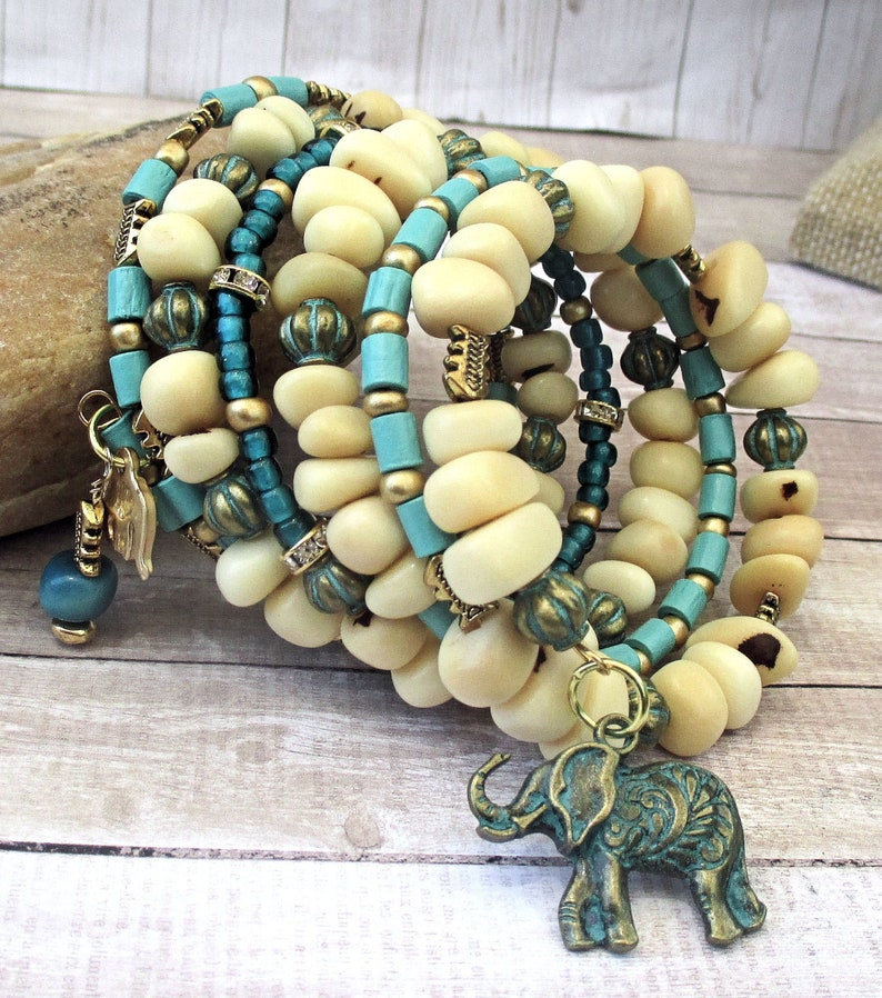 Ivory Tagua Nut Turquoise and Gold Multistrand Elephant Charm image 0