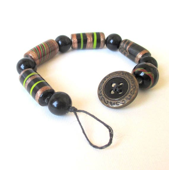 Ethnic Beaded Button Bracelet, Tribal Jewelry, Bohemian Bracelet with India Beads, Bronze Black Jewelry Handmade Gift for Her 7-3/4in long