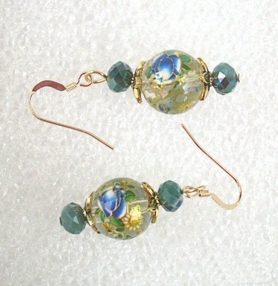 Chinese Earrings, Flower Jewelry, Glass Globe Earrings, Chinese Flower Earrings, Green Blue Earrings One of a Kind Gift for Her, 2in