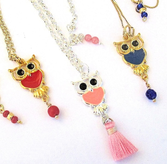 Enamel Owl Charm Necklace on a Chain, Cute Jewelry for Woman or Young Girl, Choose Color and Chain Length