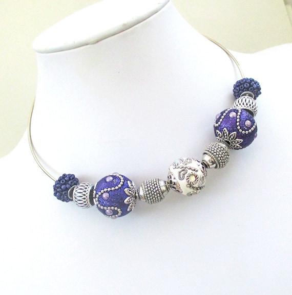 Purple Necklace Chunky, Purple Choker, Jesse James Bead Jewelry, Short Necklace, Ultraviolet Jewelry, Bold Purple Bead Necklace 15in