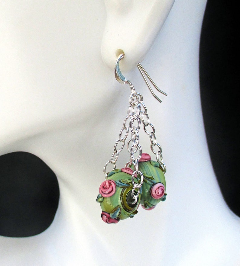 Green and Pink Flower Earrings Silver Filled Lampwork Bead image 0