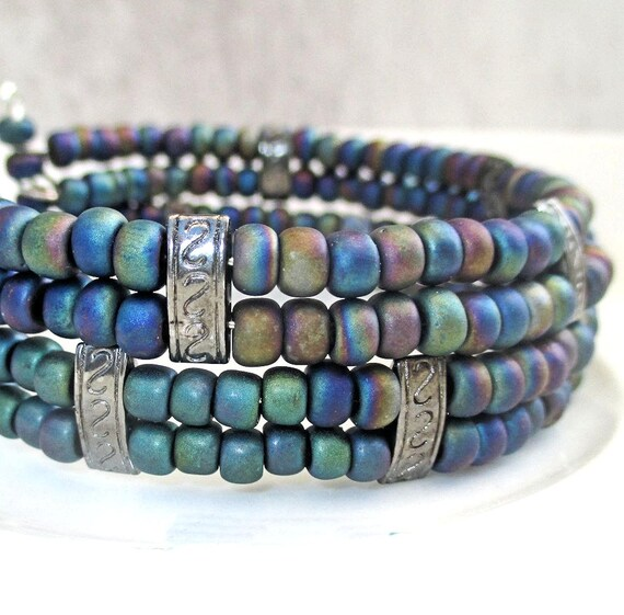 Multistrand Multicolor Bracelet, Aurora Borealis Bracelet, Dark Blue Seed Bead Bracelet, One of a Kind Gift for Her / One Size Fits Most