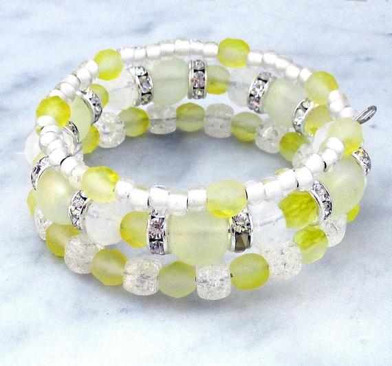 Pale Yellow Bracelet, Multistrand Coil Bracelet, Sparkly Yellow Bracelet, Dressy Jewelry, Lemon Yellow Jewelry, Mom Gift, One Size Fits Most