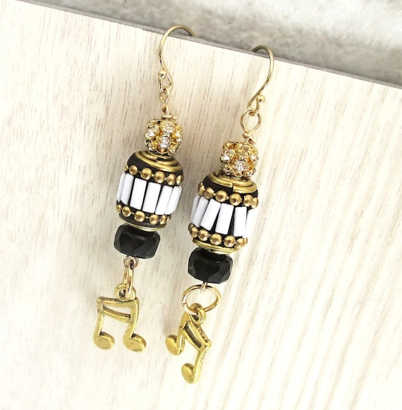 Gold Musical Note Charm Earrings with Black and White Beads, Jewelry for Musician, Gift for Singer 2-1/2in