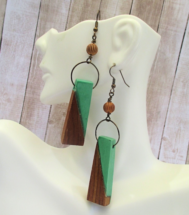 Long Green and Brown Wood Earrings with Cinnamon Color Acrylic image 0