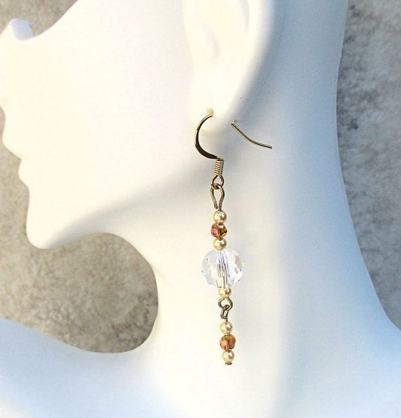 Crystal Earrings with 14K Gold Plated Hooks, Crystal & Gold Pearl Earrings, Elegant Long Wedding Earrings, Anniversary Gift for Her 2-1/2in