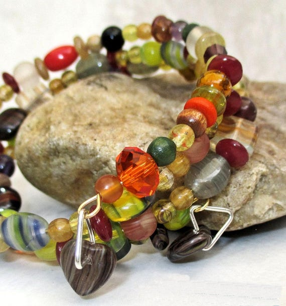 Coil Bracelet, Colorful Multistrand Bracelet, Multicolor Leaf Bracelet, Bohemian One of a Kind Christmas Gift for Her / One Size Fits Most