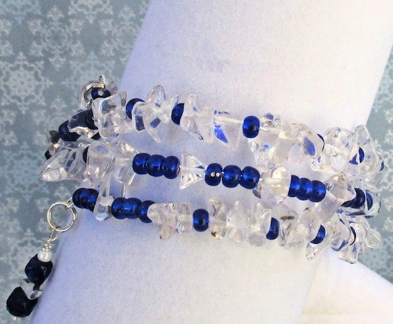 Royal Blue Multistrand Bracelet with Crystals and Czech Glass, Ice Queen Memory Wire Bracelet, Christmas Gift for Her, One Size Fits Most