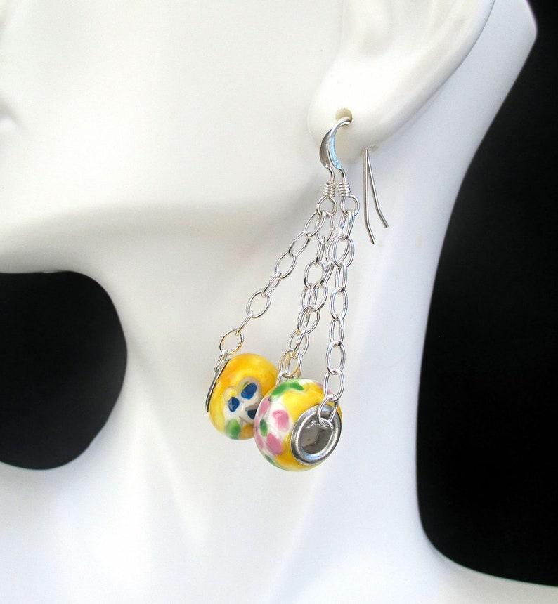 Yellow Flower Earrings Silver Filled Lampwork Bead Earrings image 0