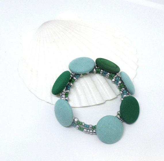 Fabric Button Bracelet, Kitschy Jewelry, Aqua Green Bracelet, Multistrand Coil Bracelet, Expandable Memory Wire Bracelet, One Size Fits Most