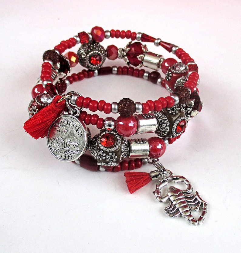 Red Scorpio Zodiac Sign Bracelet with Scorpion Charm and Red image 0