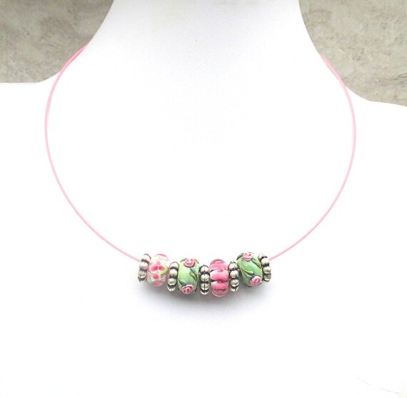 Lampwork Bead Necklace, Lampwork Pink Green Choker Necklace, Pink Necklace, Flower Jewelry, Young Lady Spring Jewelry, Gift for Her 18in