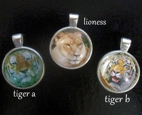 Picture Pendant Necklace, Tiger Jewelry, Lion Necklace, Chain Jewelry, Animal Totem Necklace, Cat Jewelry, Gift for Her / Custom Length