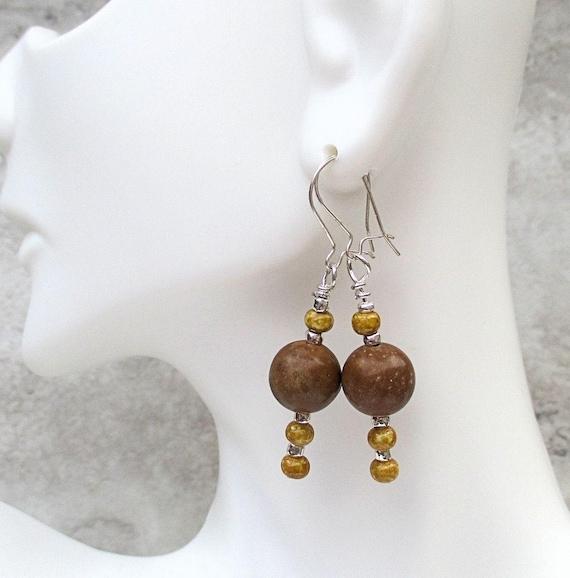 Brown Gemstone Earrings, Sterling Silver Jasper Jewelry, Boho Chic Handmade Earrings, Christmas Gift, Girlfriend Gift for Her 1-3/4in