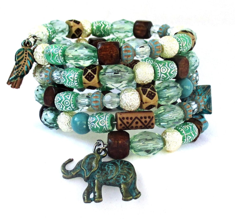 Elephant Totem Bracelet with Five Strands in Tribal Ethnic image 0