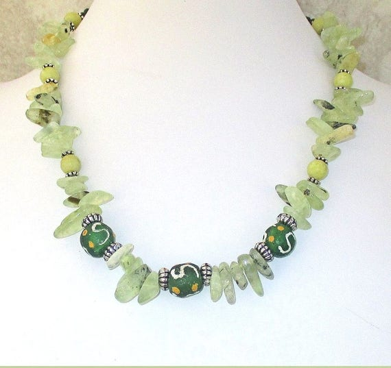 Green Gemstone Necklace, Prehnite Jewelry, Yellow Jade Necklace, Chunky Bohemian Necklace, Gift for Her 19in, Matching Bracelet Available