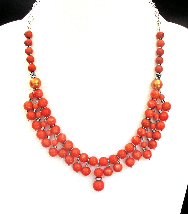Retro Burnt Orange Beaded Statement Necklace Chunky Womens image 0