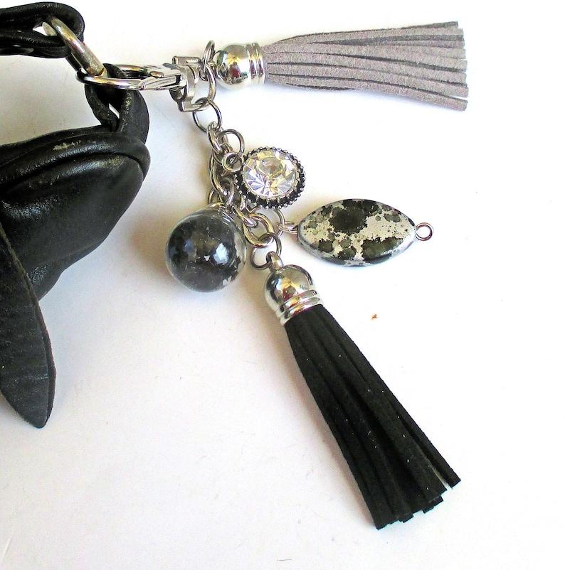 Gray and Black Tassel Purse Decoration Handbag Charm Swag with image 0
