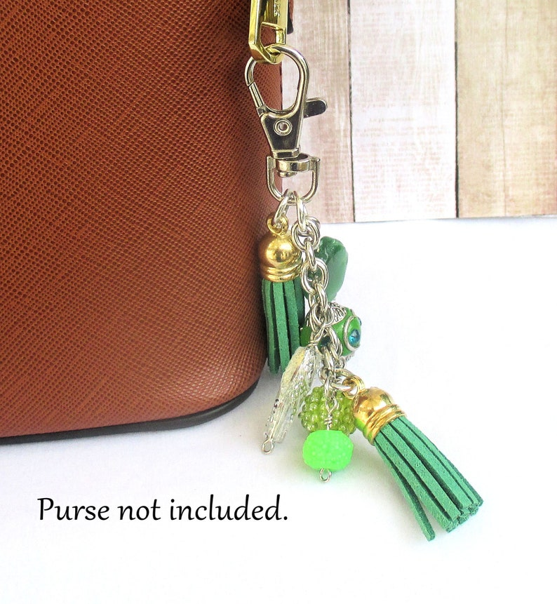 Green Suede Tassel Purse Swag with Dangles for Handbag image 0