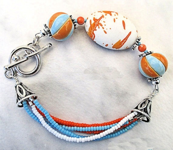 Beaded Bracelet with Golem Design Ceramic Beads, Orange Blue White, Funky Bracelet, Colorful Statement Jewelry, Gift for Women, 7-1/2in