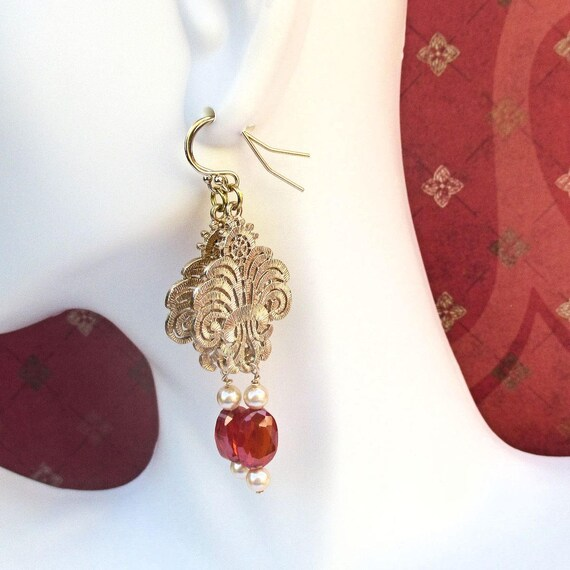 Elegant Earrings, Red and Gold Jewelry, Cubic Zirconia Earrings, Gold Filled Earrings, Dressy Jewelry, Gift for Her 2-1/2in