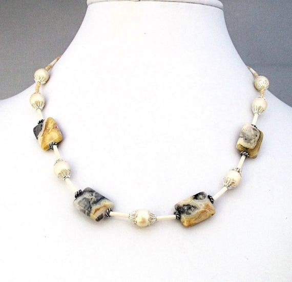 Yellow and Gray Gemstone and Pearl Necklace, Crazy Lace Agate Jewelry, Sophisticated Dressy Jewelry, Adjustable 17-19 inches