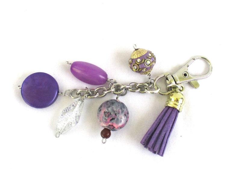 Purple Suede Tassel Purse Decoration with Dangles for Handbag image 0