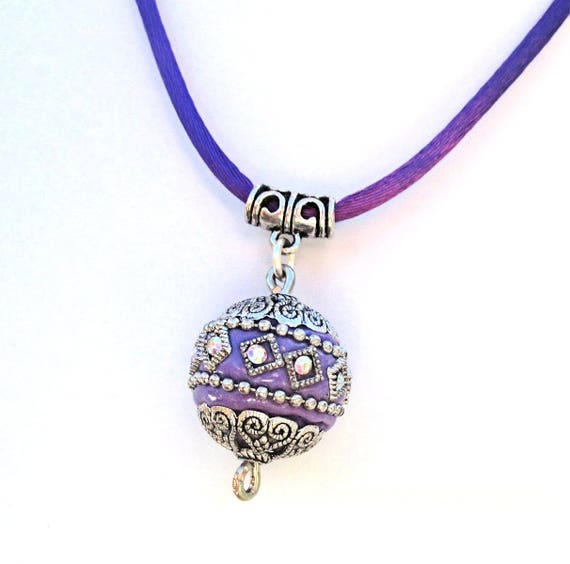 Purple Necklace on Satin Cord Single Bead Pendant Necklace Lavender Bohemian Necklace Boho Necklaces for Women Gift for Her / Choose Length