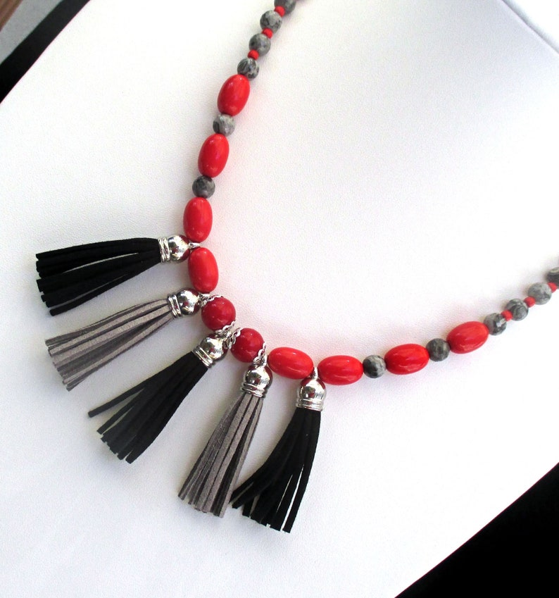 Red Gray and Black Tassel Adjustable Length Necklace with image 0
