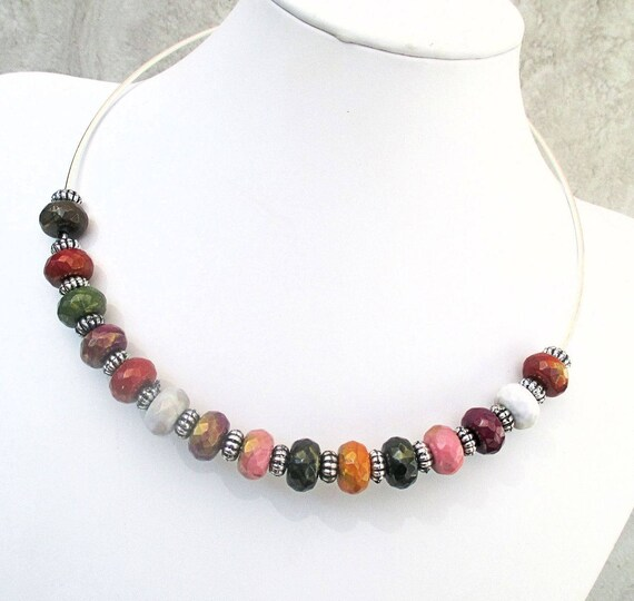 Multicolored Beaded Choker Metal Ring Necklace Large Hole Faceted Beads Hook Ball Clasp Orange Pink Purple White Brown Green Jewelry 18in