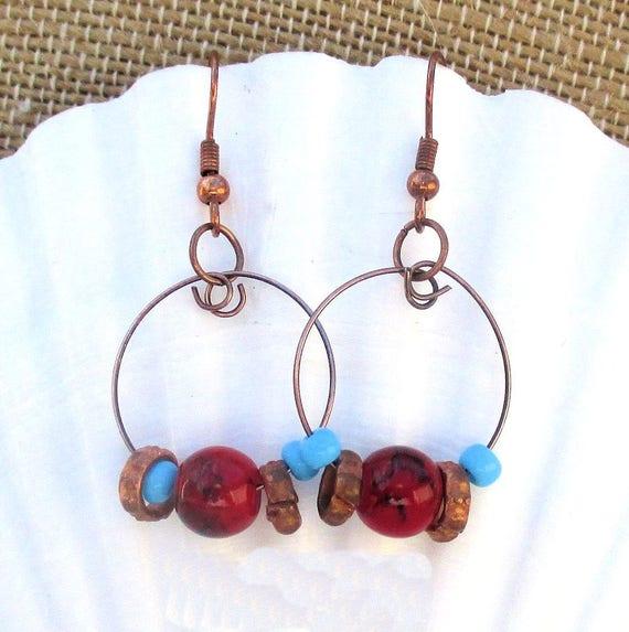 Copper Hoop Earrings, Bohemian Jewelry, Gypsystyle Earrings, Beaded Copper Earrings, Rustic Earrings, Red Blue Earrings Gift for Her 1-3/4in