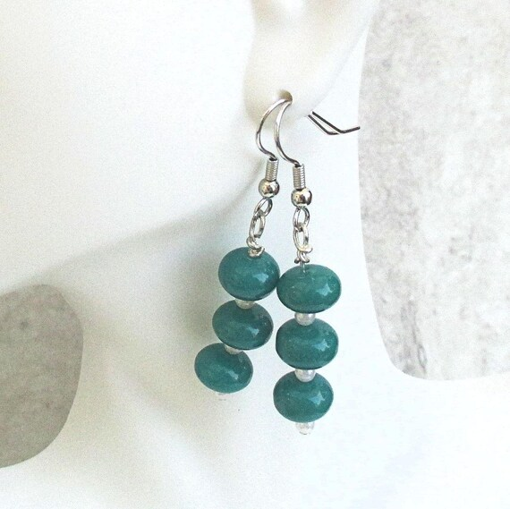Teal Earrings, Dainty Earrings, Hypoallergenic Nickelfree Earrings, Cute Jewelry, Teal Green Blue Earrings, One of a Kind Gift for Her 2in