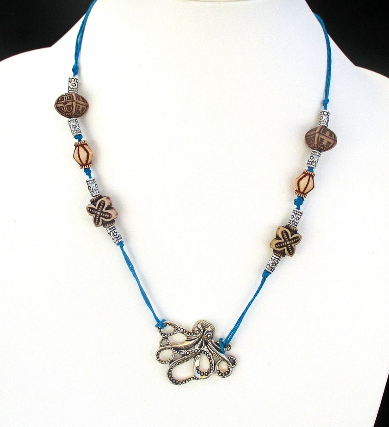 Octopus Necklace for Her with Octopus Pendant on Cotton Cord image 0