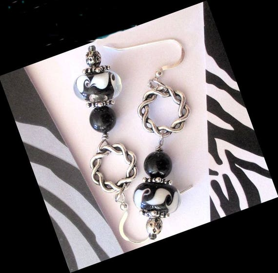 Black White Lampwork Earrings, 925 Silver Earrings, Pearl Jewelry, Lampwork Glass Earrings, Dramatic Earrings, Gift for Her 2-1/2in