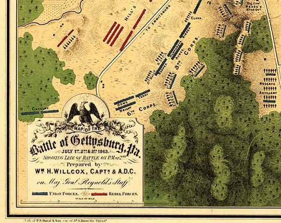 Antique Map Battle of Gettysburg 1863 Civil War