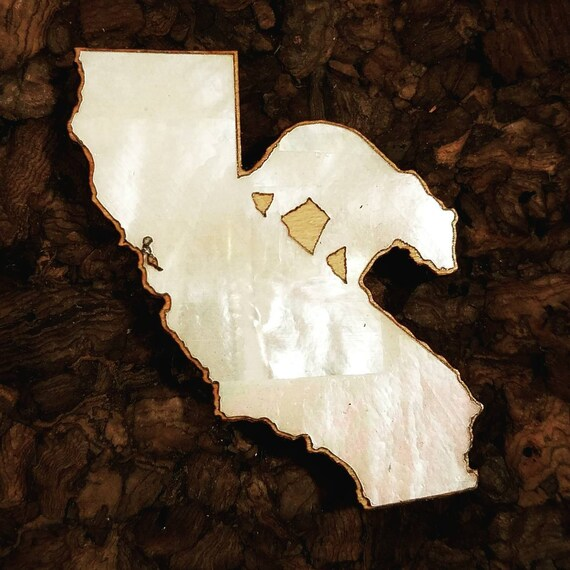 California Bear Inlaid Wood Pin - White