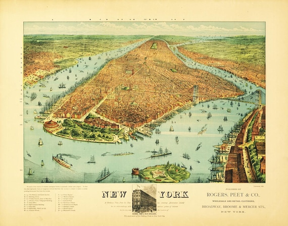 Antique Map of New York 1879 Bird's Eye View Landscape