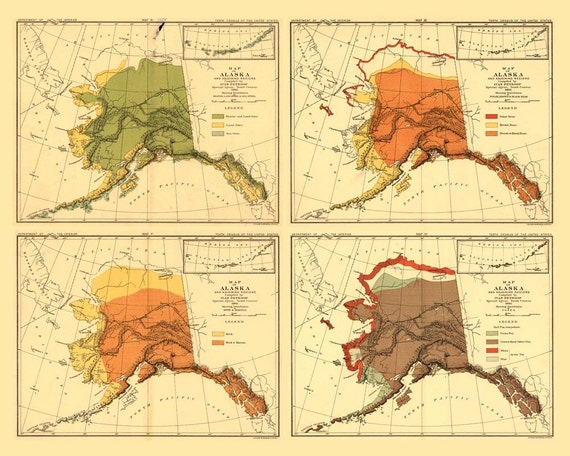 Antique Map of Alaska 1882 - Animal Species 16x20