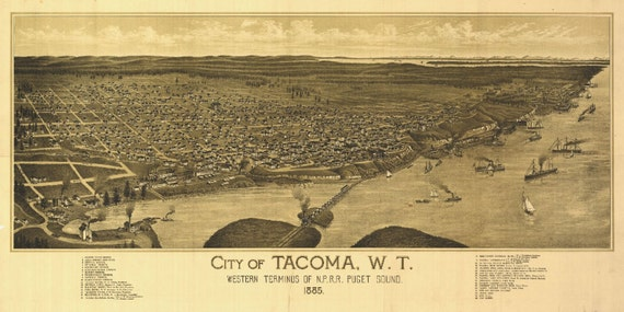 Tacoma Washington Birds Eye View Map 1885