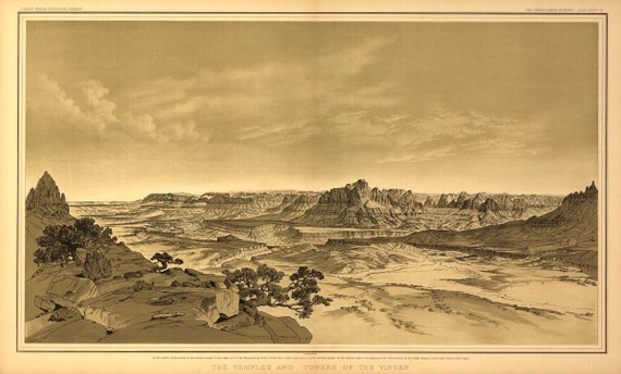 Grand Canyon Drawing USGS 1882 Birds Eye View - Virgen