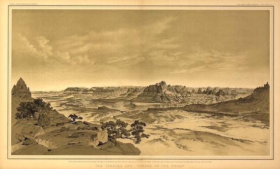 Grand Canyon Drawing USGS 1882 Birds Eye View - Virgen