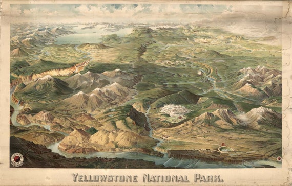 Yellowstone National Park Drawing 1904 Birds Eye View Map