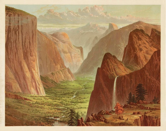 Yosemite Valley Bird's Eye View 1873